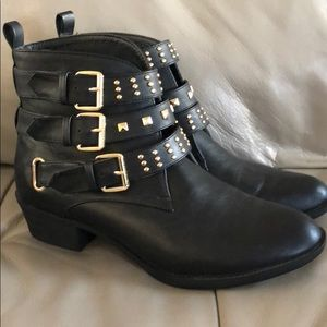 Studded Buckle Boots 9.5